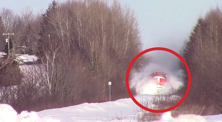 The tracks are covered with snow: but what happens next is EPIC !