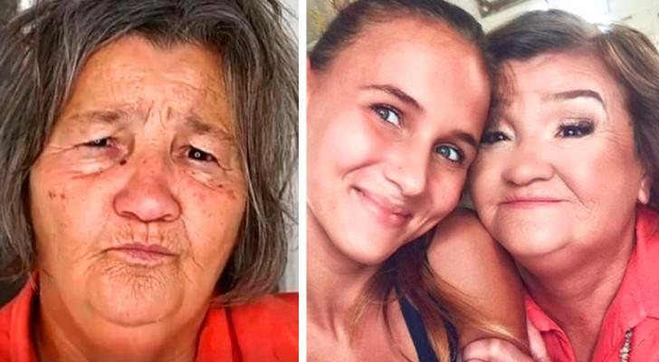 A neta deu à avó uma mudança excepcional de look, fazendo com que sorrisse novamente
