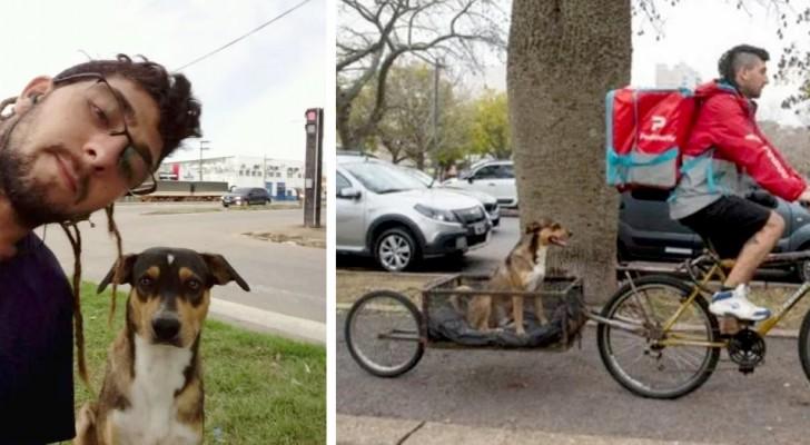 Zusteller baut sein Fahrrad so um, dass er den Hund tragen kann, den er von der Straße gerettet hat