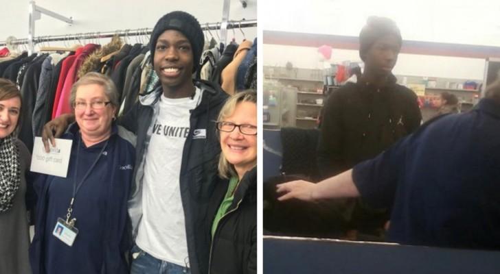 Han kommer in i en affär och köper 6 vinterkappor för hemlösa människor - hans vänlighet blir viral