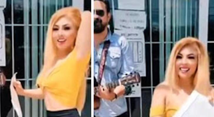 Ze scheidt van haar man en viert de scheiding met zingen en dansen voor het gemeentekantoor