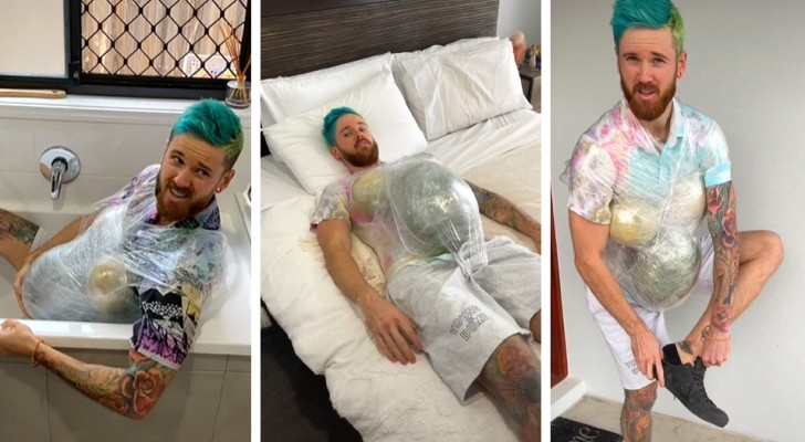He pretends he's pregnant for a day to prove that pregnancy isn't that bad, but he was wrong