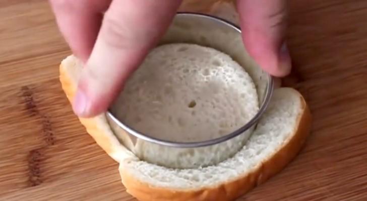 Taglia il pane a forma di cerchio... La creazione finale è deliziosa!