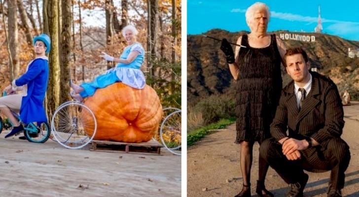 Nonna di 95 anni indossa costumi colorati ed esilaranti assieme al nipote: una coppia esilarante
