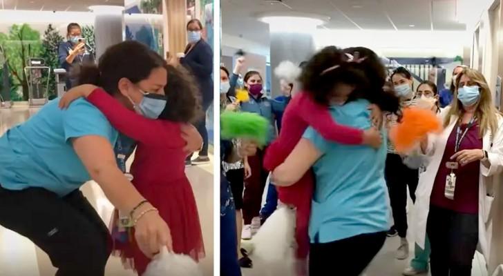 Niña de 5 años se cura del cáncer y corre a abrazar a su enfermera preferida: una escena conmovedora