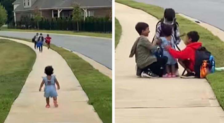 Menina corre para abraçar os irmãos mais velhos que voltavam da escola: ela não estava acostumada a não vê-los por tanto tempo