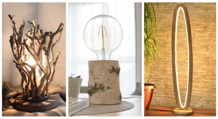Da rami e tronchi di legno lavorati a lampade super-creative: lasciati ispirare da queste idee