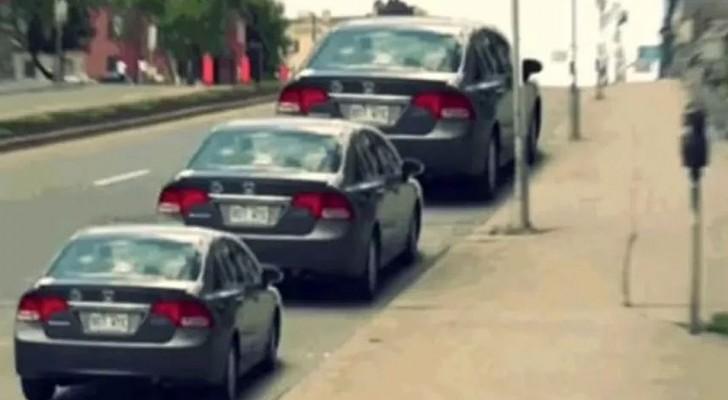 L'illusione delle tre auto: sembrano una più grande dell'altra, ma in realtà non è così