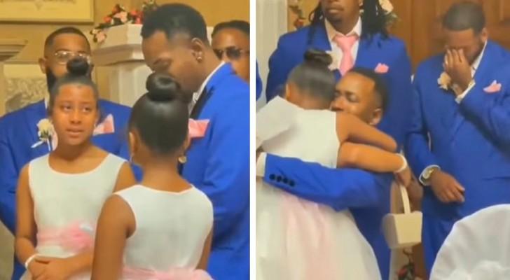 Il giorno del matrimonio lo sposo si propone come padre adottivo delle figlie della sua compagna: una scena emozionante