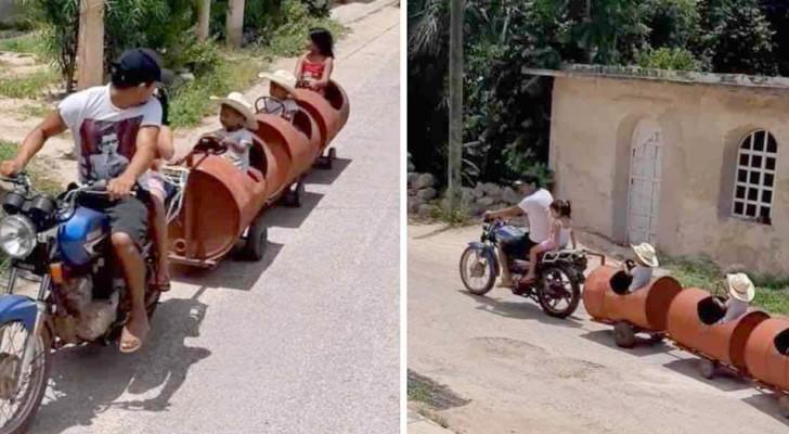 Un humilde papá construye un trencito para alegrar a sus tres hijos: un modo para vivir la vida siempre con la sonrisa