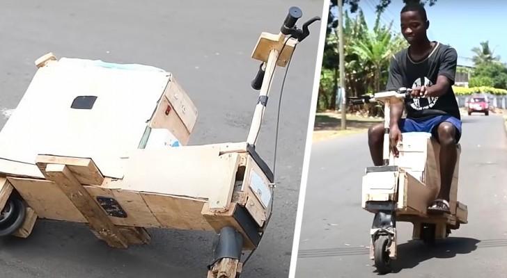 Ragazzo di 17 anni costruisce uno scooter a energia solare utilizzando legna di scarto