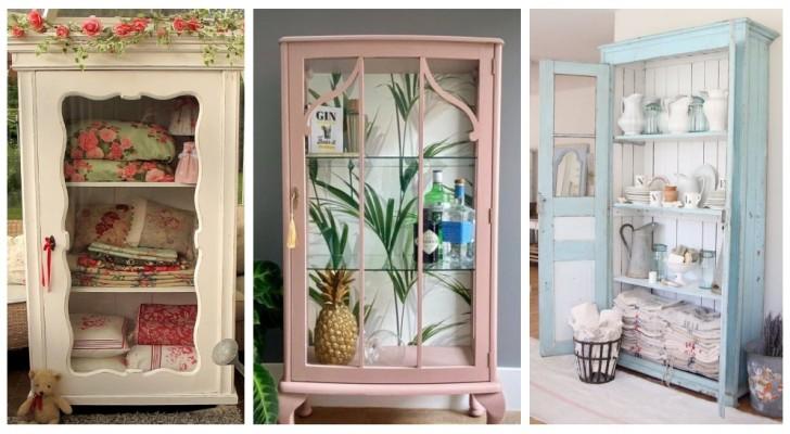 Déco et ameublement shabby chic : de nombreuses idées pour utiliser les vitrines vintage dans toutes les pièces de chez vous