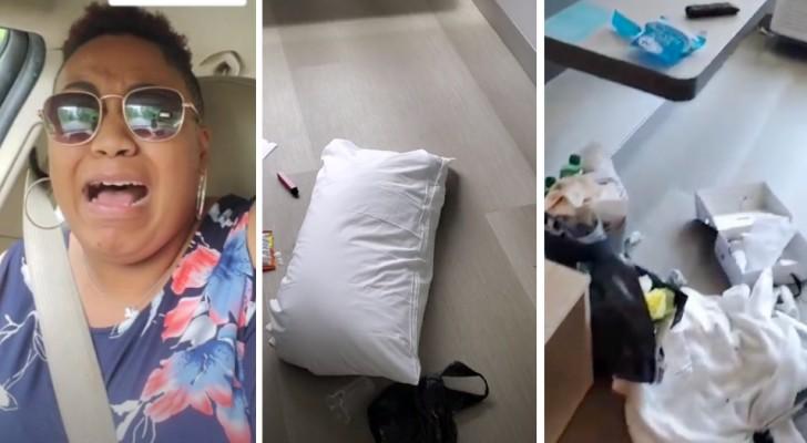Une femme de ménage montre les conditions désastreuses dans lesquelles les clients laissent les chambres d'hôtel