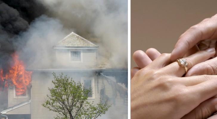 Encuentra el anillo de compromiso entre las cenizas de la casa prendida fuego: se arrodilla y le pide la mano
