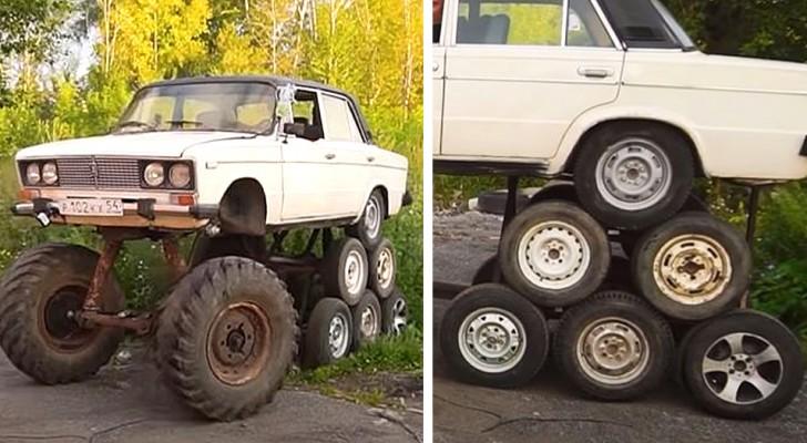 Una semplice berlina con ben 14 ruote: l'esperimento di questi meccanici