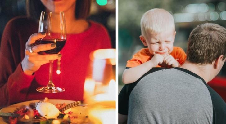 Een jonge vrouw vraagt een stel het restaurant te verlaten omdat hun zoon te veel huilt en schreeuwt: Het verpest mijn diner