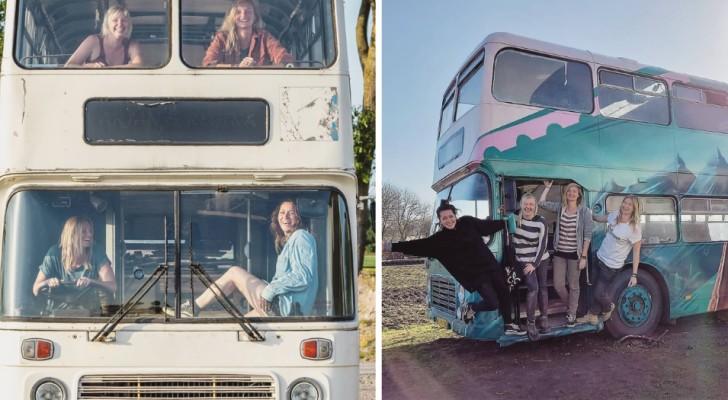 4 Frauen verwandelten einen alten Doppeldeckerbus in eine voll ausgestattete