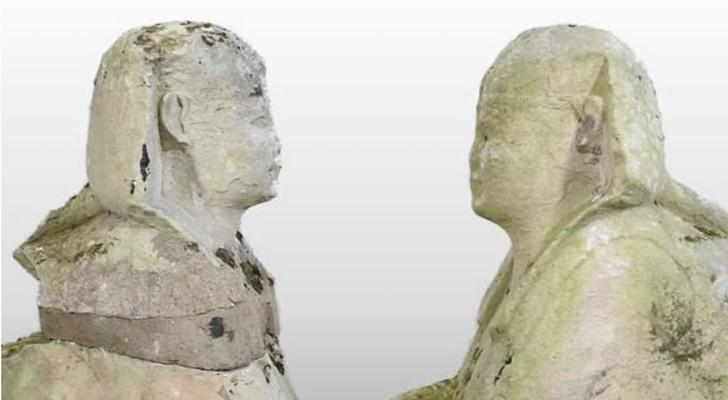 Trovate in un giardino inglese due statue egizie che raffigurano la Sfinge: la curiosa scoperta
