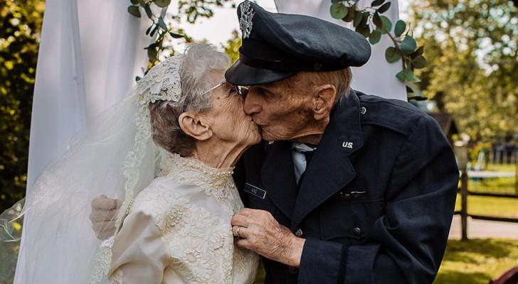 Coppia di anziani festeggia i 77 anni di matrimonio aiutati dagli infermieri dell'ospizio in cui vivono