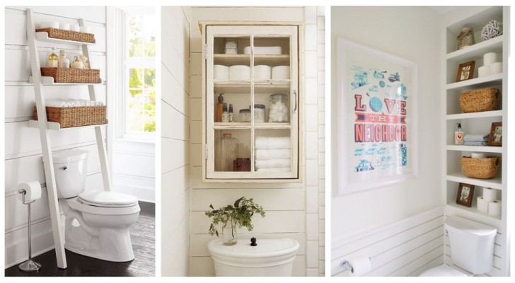 Trova spazio nel bagno arredando la parete sopra al WC con la soluzione più adatta per te