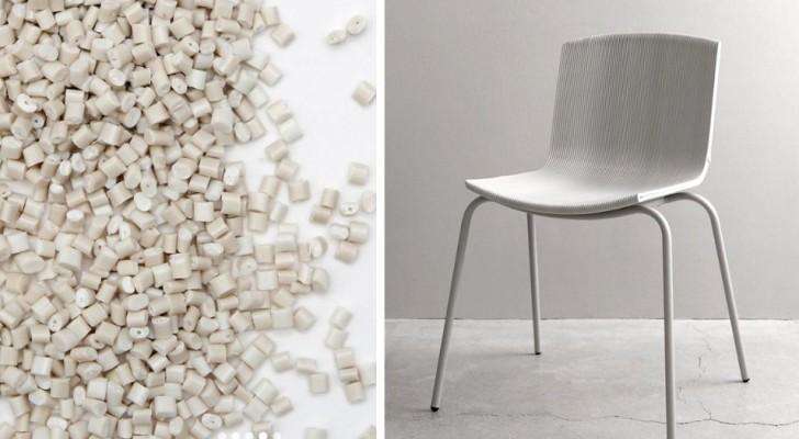 Questa sedia stampata in 3D è stata realizzata riciclando i vasetti in plastica dello yogurt