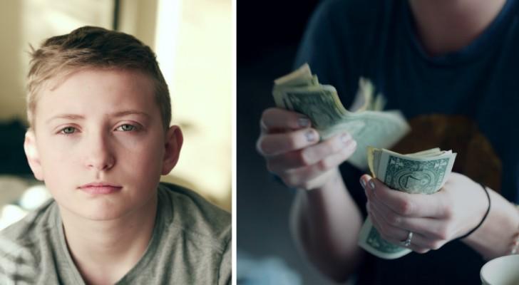 Die Tante gibt ihrem Neffen einen Lottoschein und stellt fest, dass er gewonnen hat: Sie bittet ihn, das Geld auszuhändigen