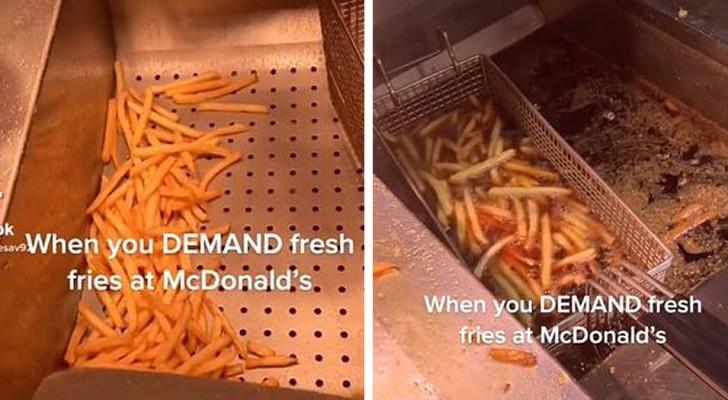 McDonald's-Mitarbeiter zeigt, wie er Pommes für unhöfliche Kunden zubereitet