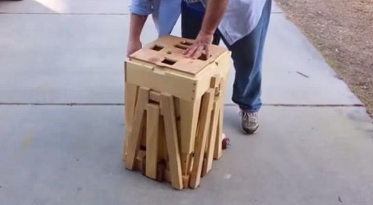 Hij trekt aan een vreemde houten kist. Tien seconden later? Wow !!!