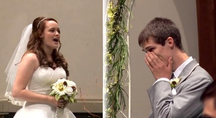 Als hij voor het altaar wacht op zijn bruid staat hem een grote verrassing te wachten!