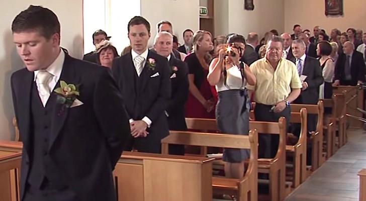 La novia esta por entrar: el modo en que el esposo la recibe es maravilloso