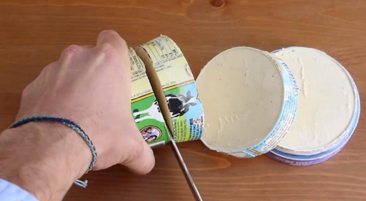 Couper un pot de glace peut sembler absurde mais le résultat est DÉLICIEUX!
