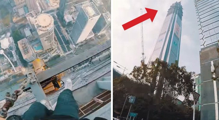 2 guys climb on top of a skyscraper: this is SCARY !
