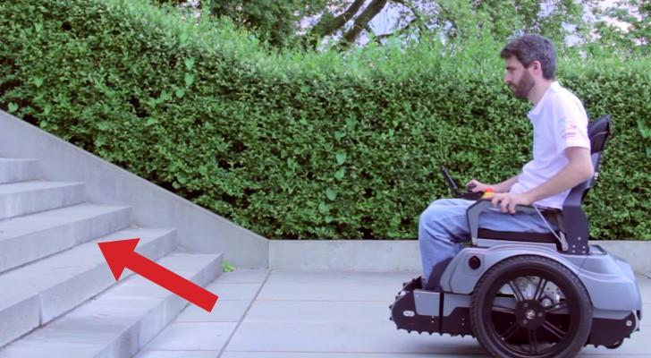 Ein Rollstuhlfahrer erreicht eine Treppe. Diese Erfindung wird sein Leben verändern
