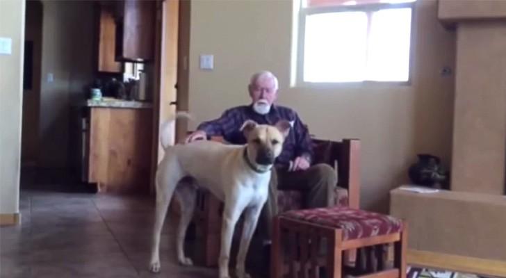 Denna man har Alzheimer och kan knappt prata, men titta på vad han gör när han ser hunden...