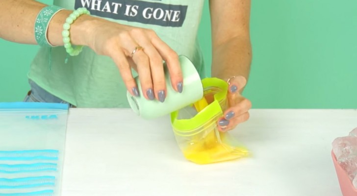 Inizia mettendo succo di frutta in una busta: dopo qualche minuto vi leccherete i baffi!