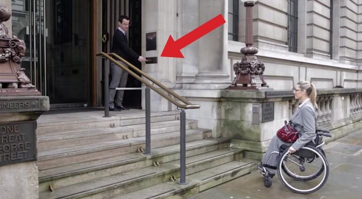 Diese behinderte Frau kommt die Treppen nicht hoch, aber schaut, was passiert, wenn sie den Knopf drückt