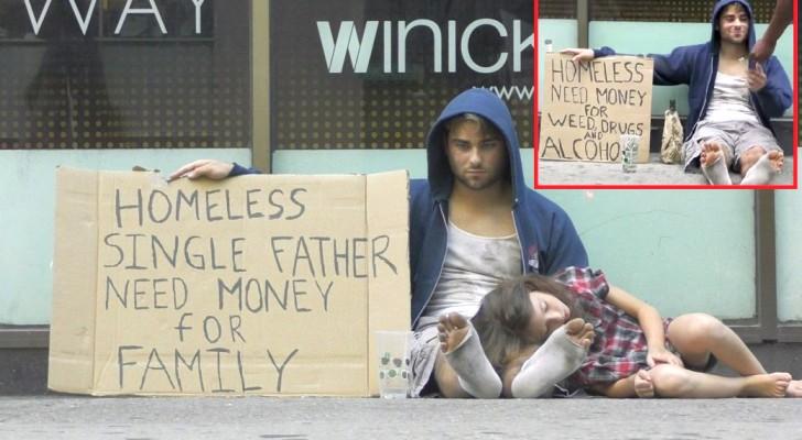 Eerst vraagt hij geld voor drugs, daarna vraagt hij geld voor zijn dochter: de reacties van de voorbijgangers zal je versteld doen staan