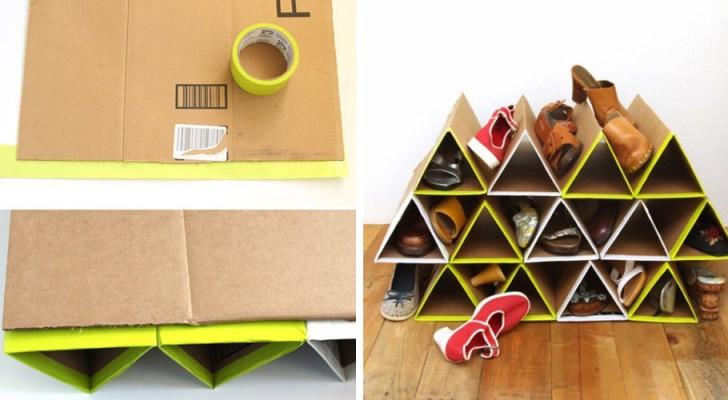 Scopri come riciclare i cartoni in maniera ingegnosa creando questa utilissima scarpiera