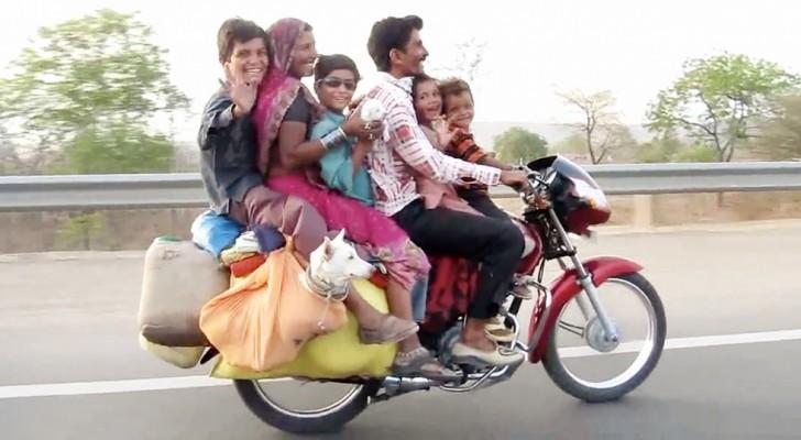 Este motorista não pode acreditar em seus olhos: olha como esta família está viajando