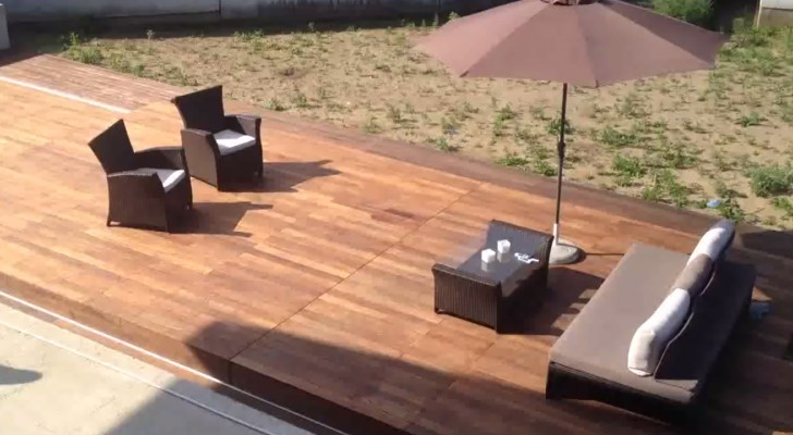 It seems just a pretty garden patio, but when you press a button everything  changes... Wooow!