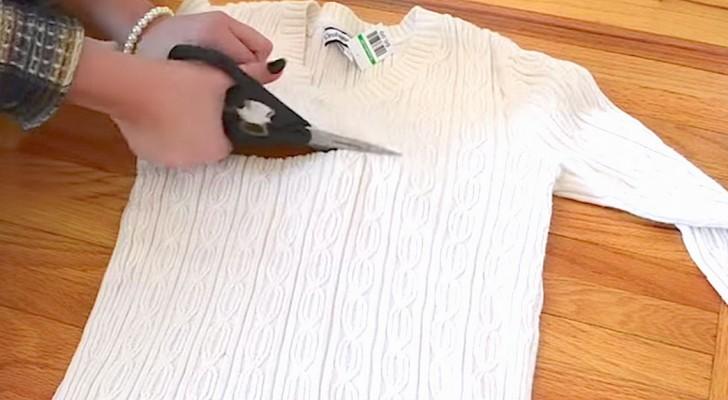 Inizia tagliando un vecchio maglione e crea un accessorio irrinunciabile per l'inverno!