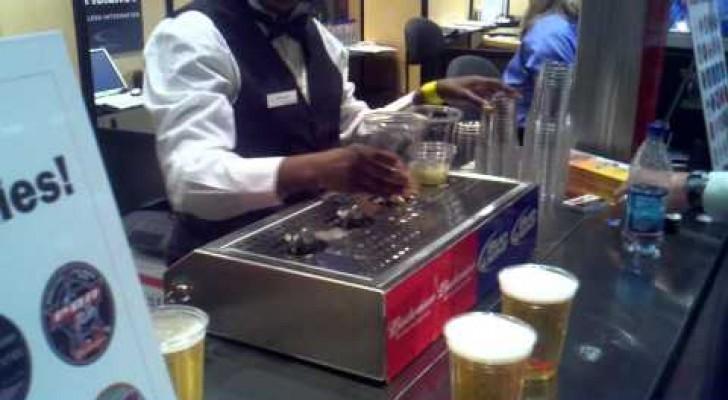 Les bières remplies par le fond du verre