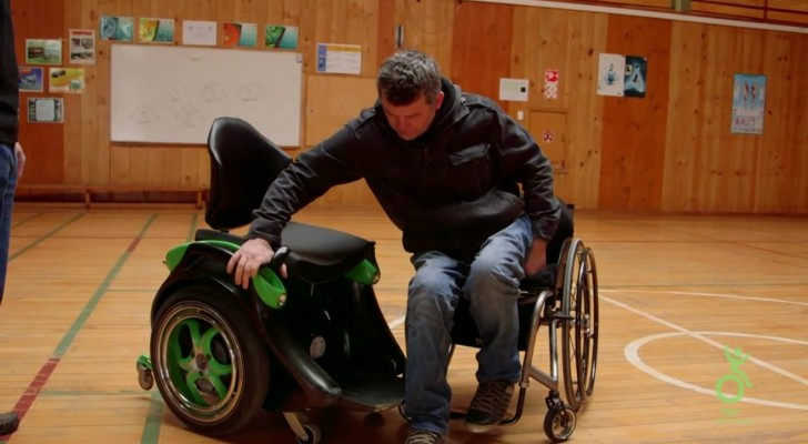 It looks like a normal wheelchair, but as soon as he sits there's an innovative feature