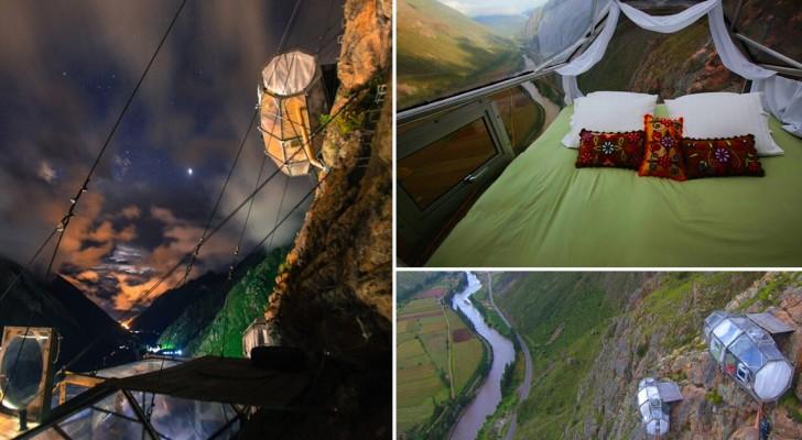 Dormire sospesi su una valle in Perù: ecco un hotel inaccessibile ai deboli di cuore
