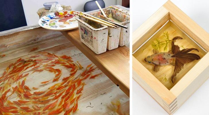 Sembrano dei pesci rossi veri: in realtà sono una spettacolare opera d'arte