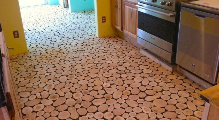 Come ottenere un bel pavimento fatto di dischi di legno for Dischi di legno