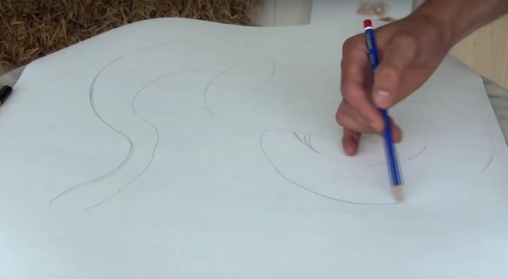 Er beginnt mit einfachen Linien, aber seine 3D-Zeichnung ist unglaublich gut