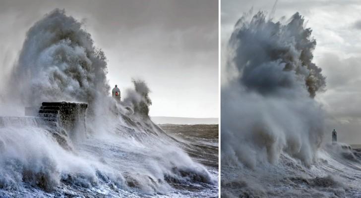 Per 6 anni un fotografo cattura le spaventose onde che si abbattono su un faro inglese
