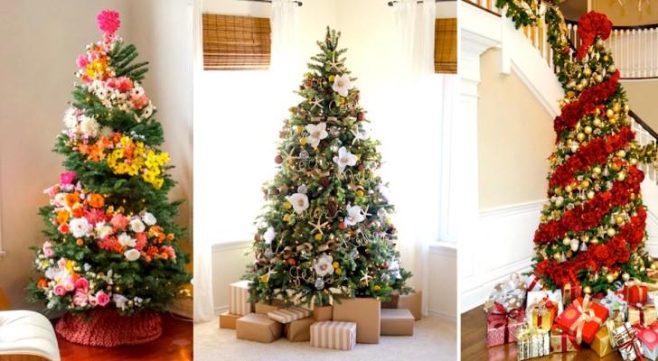 Albero Di Natale Con Decorazioni Blu : Molte persone hanno decorato l albero di natale con i fiori il