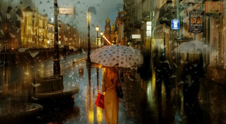 Foto's van een stad op een regenachtige dag: deze foto's zijn net schilderijen